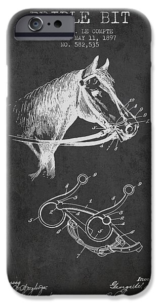 Horse Stable iPhone Cases - Bridle Bit patent from 1897 - Charcoal iPhone Case by Aged Pixel