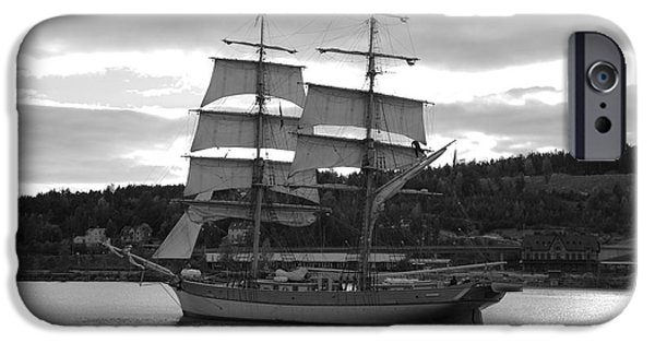 Tall Ship iPhone Cases - Brig leaving harbor - monochrome iPhone Case by Intensivelight