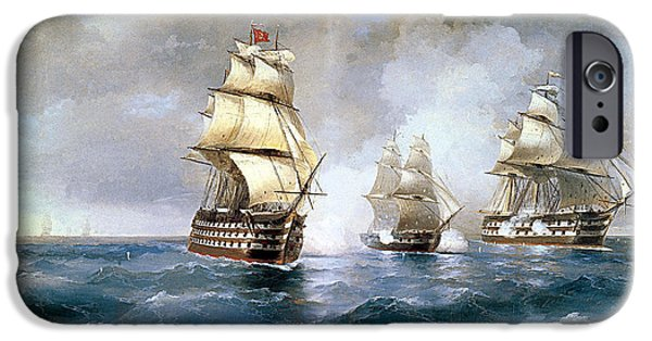 Brig iPhone Cases - Brig Mercury Attacked by Two Turkish Ships iPhone Case by Ivan Konstantinovich Aivazovsky