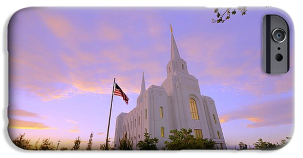 Buildings iPhone Cases - Brigham City Temple I iPhone Case by Chad Dutson