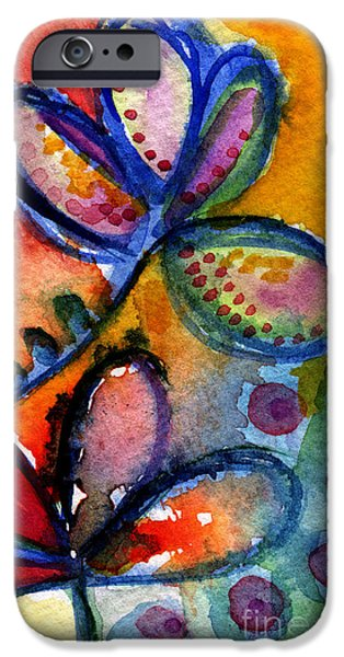 Abstracted Mixed Media iPhone Cases - Bright Abstract Flowers iPhone Case by Linda Woods