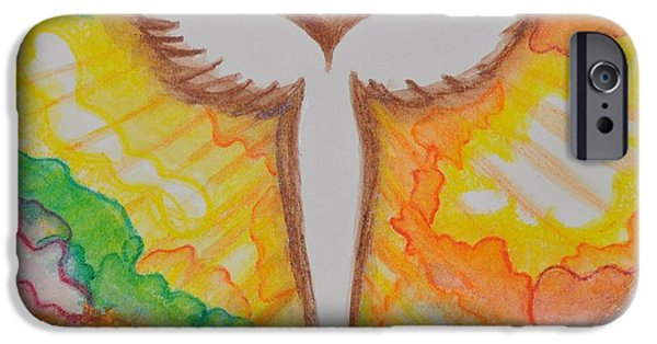 Spiritual Pastels iPhone Cases - Bright Angel iPhone Case by Sally Rice