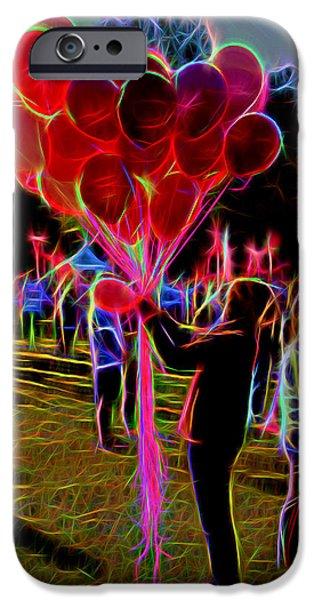 Balloon Vendor iPhone Cases - Bright Balloon Morning iPhone Case by Ken Everett