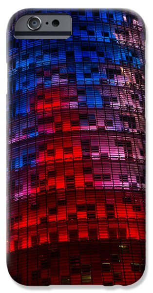 Balcony iPhone Cases - Bright Blue Red and Pink Illumination - Agbar Tower Barcelona iPhone Case by Georgia Mizuleva