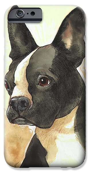 Black Dog iPhone Cases - Bright Boston Terrier iPhone Case by Tracie Thompson