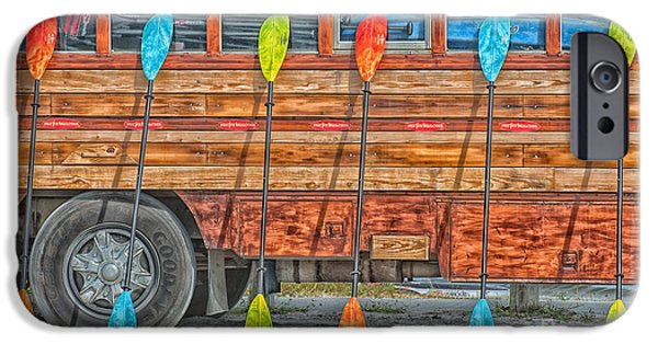 Ianmonk iPhone Cases - Bright Colored Paddles and Vintage Woodie Surf Bus - Florida - HDR Style iPhone Case by Ian Monk
