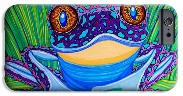 Frogs iPhone Cases - Bright Eyed Frog iPhone Case by Nick Gustafson