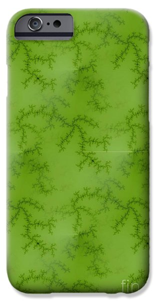 Concept Art iPhone Cases - Bright Green Fractal iPhone Case by Henrik Lehnerer