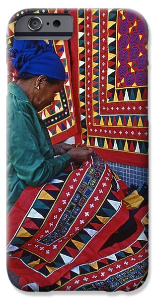 Historic Site iPhone Cases - Artisan bright Lao cloth  iPhone Case by Blair Seitz