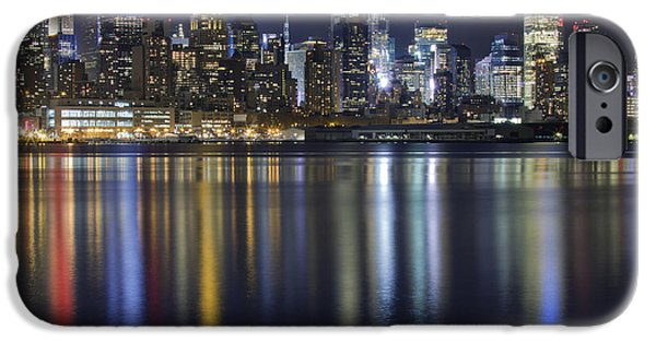 Hudson River iPhone Cases - Bright Lights Big City iPhone Case by Marco Crupi