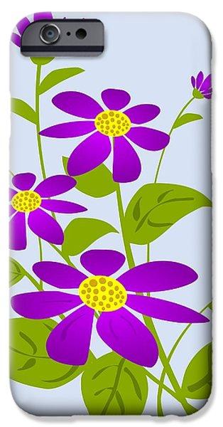 Plants Digital Art iPhone Cases - Bright Purple iPhone Case by Anastasiya Malakhova