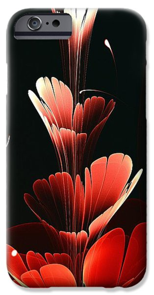 Plant Mixed Media iPhone Cases - Bright Red iPhone Case by Anastasiya Malakhova
