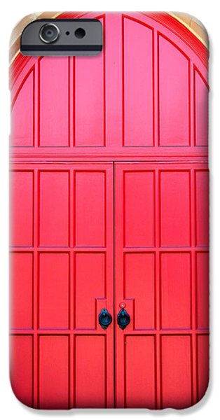 Antiques iPhone Cases - Bright Red Doors iPhone Case by Cynthia Guinn