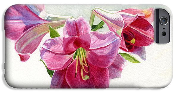 Dark Pink iPhone Cases - Bright Rose Colored Lilies iPhone Case by Sharon Freeman