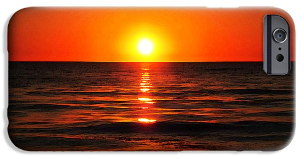 California Beach iPhone Cases - Bright Skies - Sunset Art iPhone Case by Sharon Cummings