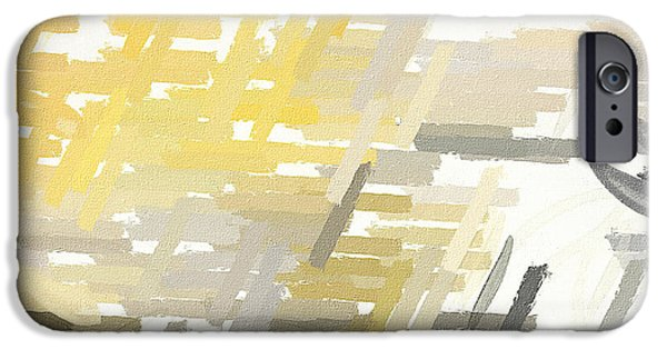 Yellow And Grey Abstract Art iPhone Cases - Bright Slashes iPhone Case by Lourry Legarde