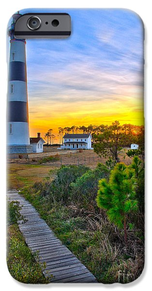 Pamlico Sound iPhone Cases - Bright Sunset at Bodie - Outer Banks I iPhone Case by Dan Carmichael