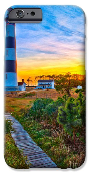 Pamlico Sound iPhone Cases - Bright Sunset at Bodie - Outer Banks II iPhone Case by Dan Carmichael