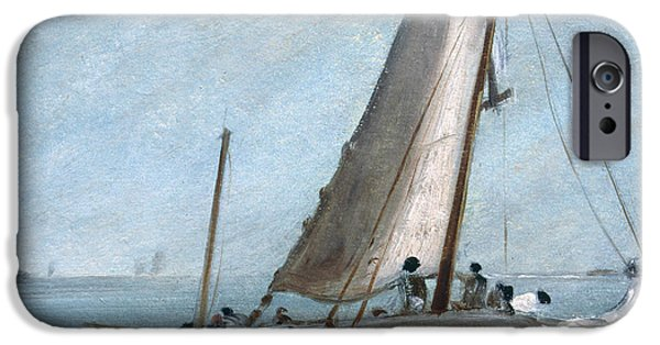 Sailboat Ocean iPhone Cases - Brighton Beach With Fishing Boats iPhone Case by John Constable