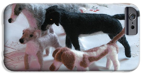 Dog Sculptures iPhone Cases - Brighton Christmas dogs iPhone Case by Maria Joy