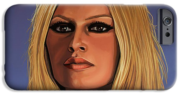 Film Paintings iPhone Cases - Brigitte Bardot iPhone Case by Paul  Meijering