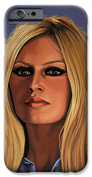 Realistic Art iPhone Cases - Brigitte Bardot iPhone Case by Paul Meijering