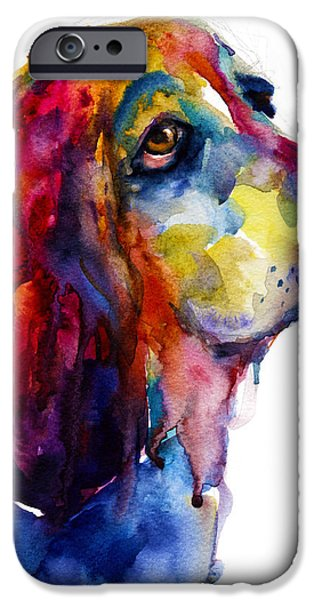 Cute Puppy iPhone Cases - Brilliant Basset Hound watercolor painting iPhone Case by Svetlana Novikova