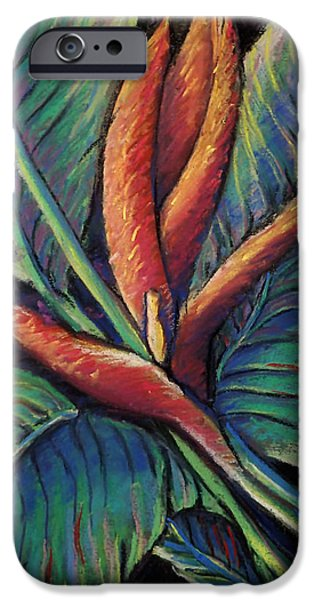 Organic Pastels iPhone Cases - Brilliant bird in Paradise iPhone Case by Mary Knape