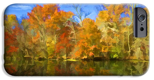 Pleasure iPhone Cases - Brilliant Bright Colorful Autumn Trees on the Canal iPhone Case by David Letts