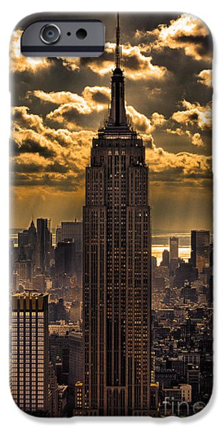 Empire State iPhone Cases - Brilliant But Hazy Manhattan Day iPhone Case by John Farnan