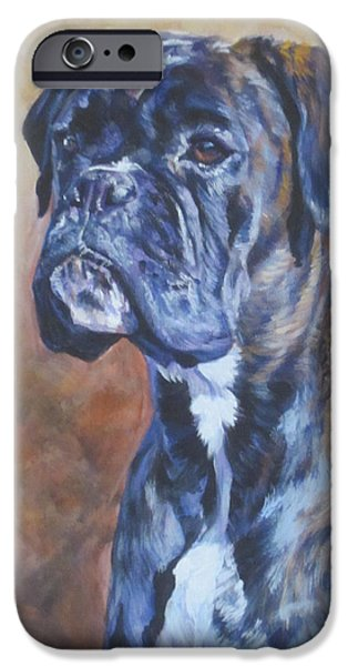 Boxer Paintings iPhone Cases - Brindle Boxer iPhone Case by Lee Ann Shepard