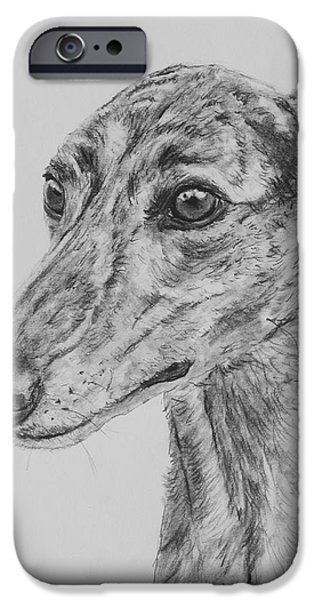 Rescued Greyhound iPhone Cases - Brindle Greyhound Face in Profile iPhone Case by Kate Sumners