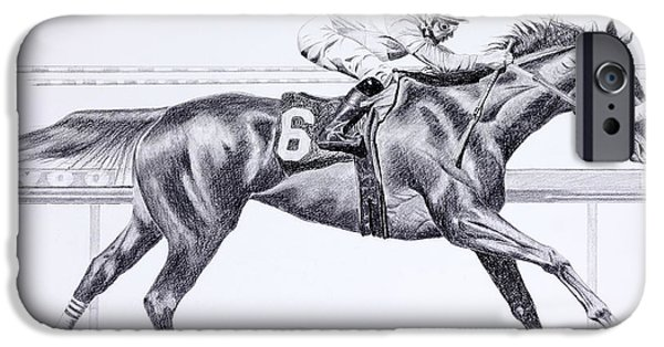 Horse Racing Drawings iPhone Cases - Bring On The Race Zenyatta iPhone Case by Joette Snyder