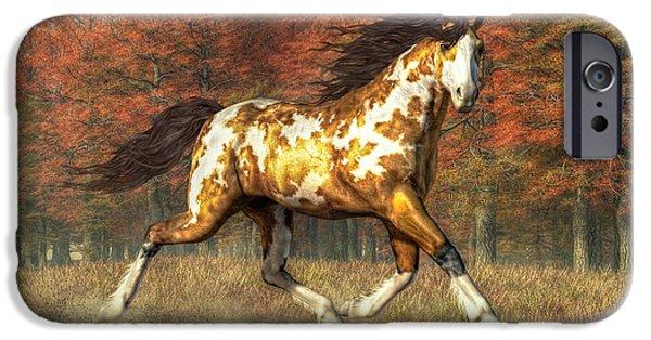 Horse Racing Digital iPhone Cases - Bringer of Fall iPhone Case by Daniel Eskridge