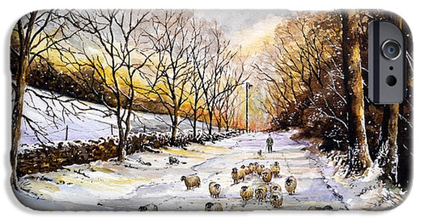 Snow Scene iPhone Cases - Bringing home the sheep iPhone Case by Andrew Read
