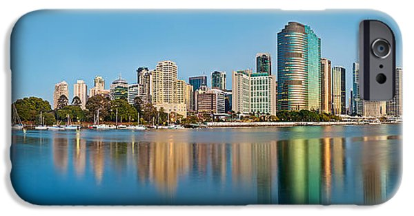 Blue Sky Reflection iPhone Cases - Brisbane City Reflections iPhone Case by Az Jackson