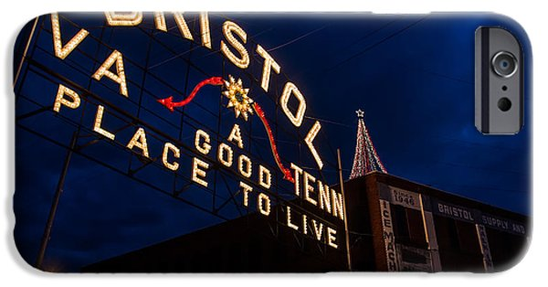States iPhone Cases - Bristol Sign at Christmas iPhone Case by Karl Greeson