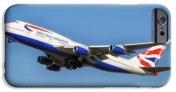 Airways Photographs iPhone Cases - British Airways Airliner Taking Off iPhone Case by Mountain Dreams