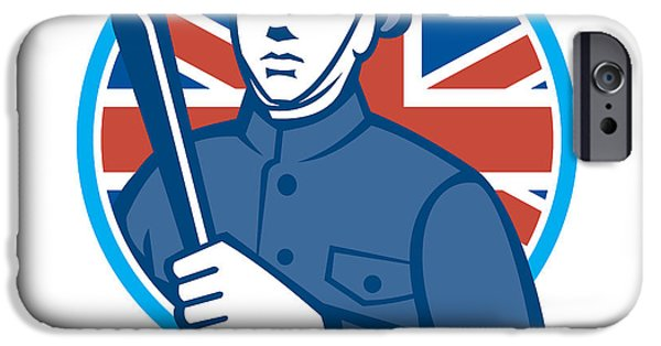 Police Officer iPhone Cases - British Bobby Policeman Truncheon Flag iPhone Case by Aloysius Patrimonio