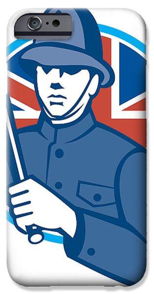 British Bobby Policeman Truncheon Flag iPhone Case by Aloysius Patrimonio
