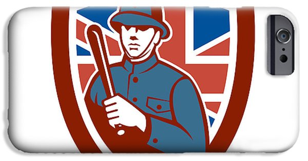 Police Officer iPhone Cases - British Bobby Policeman Truncheon Flag Shield Retro iPhone Case by Aloysius Patrimonio
