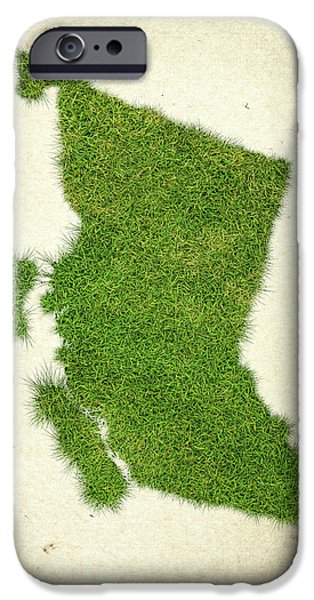Waste iPhone Cases - British Columbia Grass Map iPhone Case by Aged Pixel