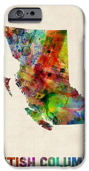 Canada iPhone Cases - British Columbia Watercolor Map iPhone Case by Michael Tompsett