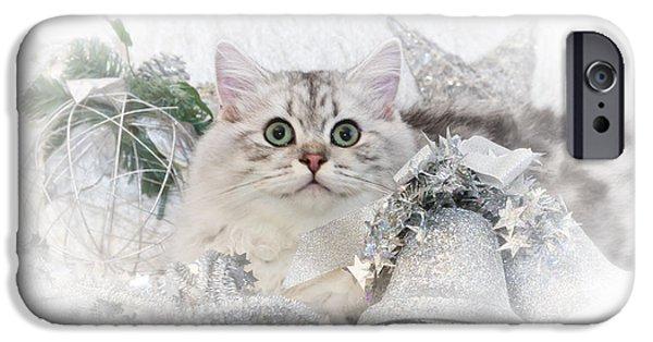 Ears Digital Art iPhone Cases - British Longhair Cat CHRISTMAS TIME II iPhone Case by Melanie Viola