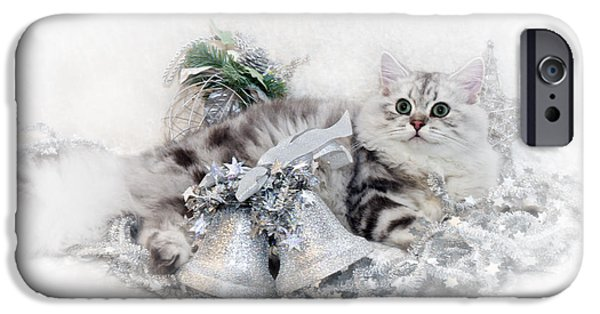 Looking Digital Art iPhone Cases - British Longhair Cat CHRISTMAS TIME iPhone Case by Melanie Viola
