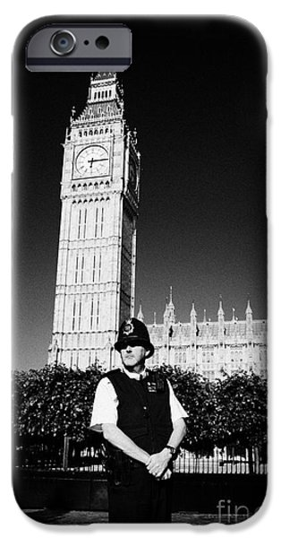 Recently Sold -  - Police Officer iPhone Cases - british metropolitan police office guarding the houses of parliament London England UK iPhone Case by Joe Fox