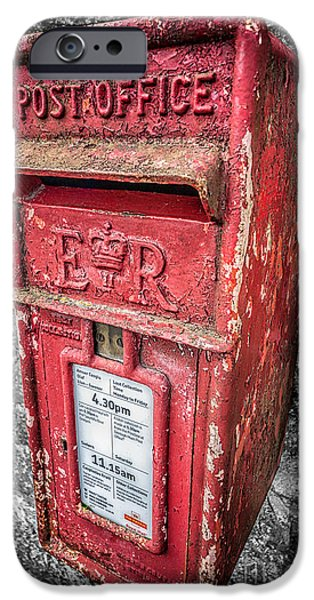 Furniture iPhone Cases - British Post Box iPhone Case by Adrian Evans
