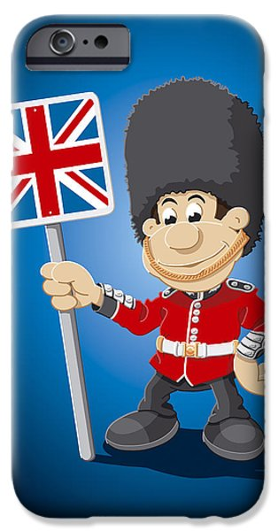 Blue iPhone Cases - British Royal Guard Cartoon Man iPhone Case by Frank Ramspott