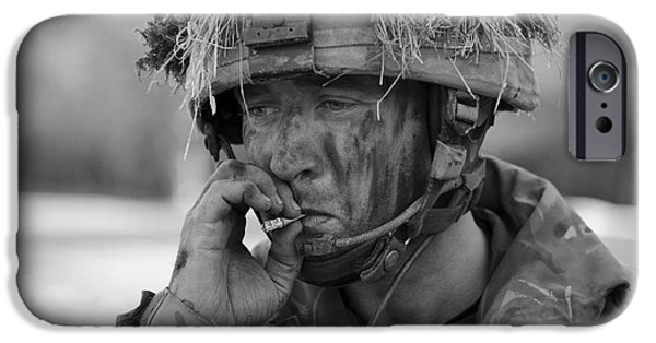 Thinking iPhone Cases - British Soldier Smoking A Cigarette iPhone Case by Andrew Chittock