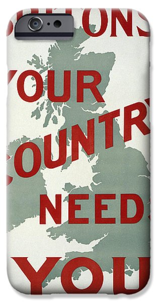 Briton iPhone Cases - British World War One Plea 1914 iPhone Case by Daniel Hagerman